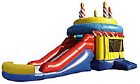 Birthday Cake Wet/Dry Inflatable Bounce House Slide Combo