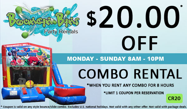 Save $20.00 of an inflatable bounce and slide combo rental in Tri Cities